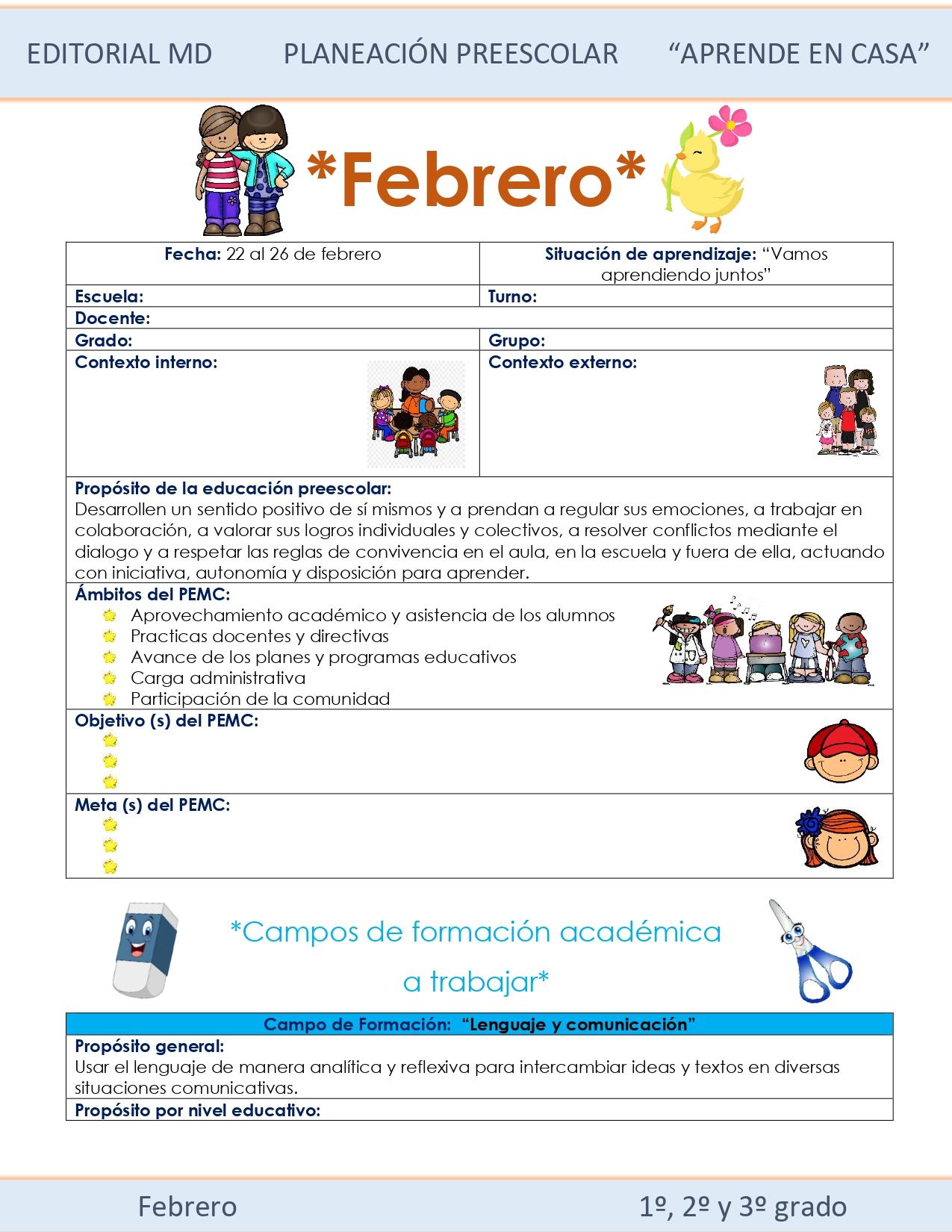 Ejemplo planeación Preescolar del 22 al 26 de Febrero del 2021 01