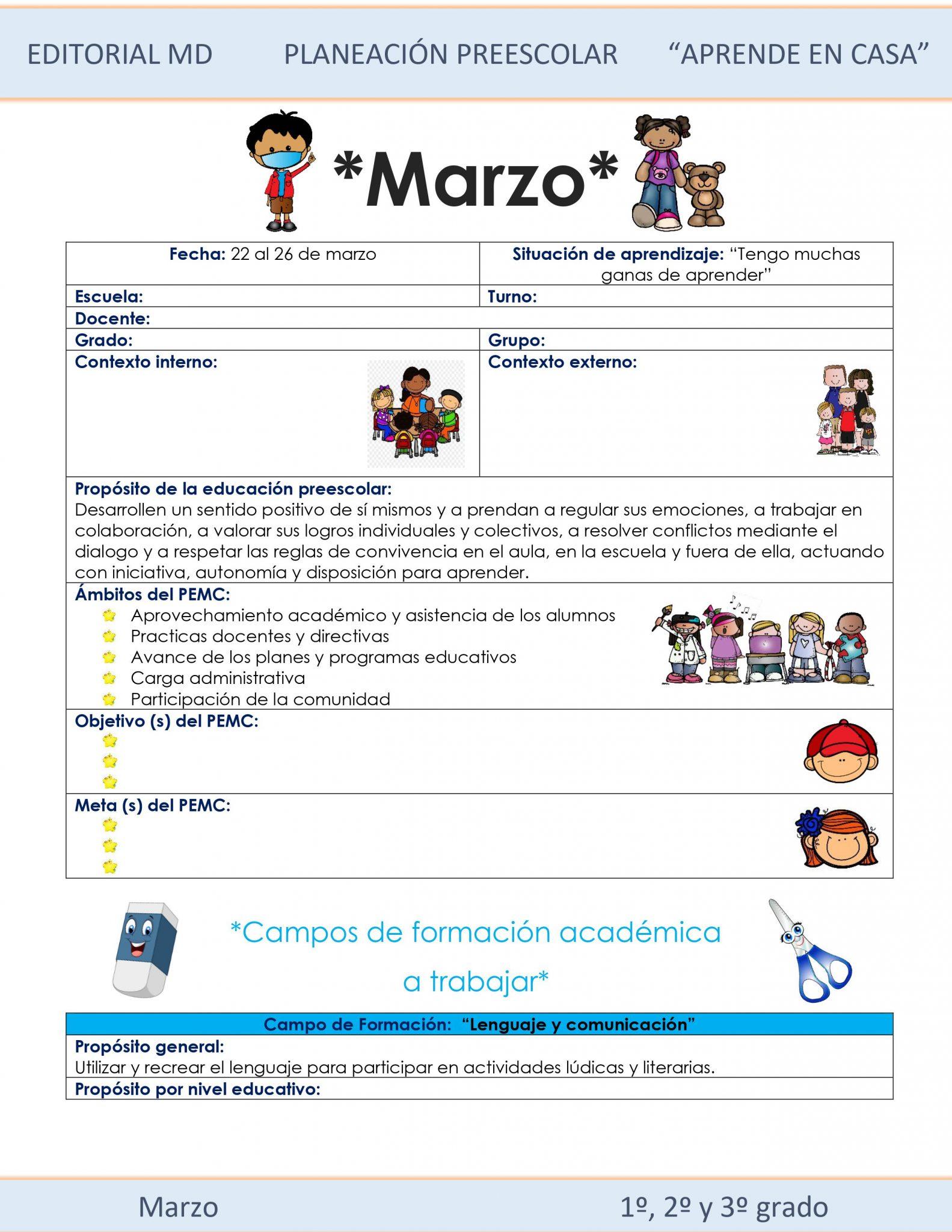 Ejemplo planeación Preescolardel 22 al 26 de Marzo del 2021 01