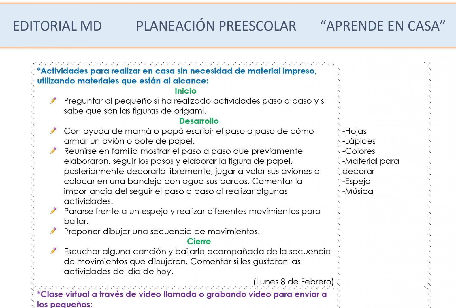 Ejemplo planeación Preescolardel 8 al 12 de Febrero del 2021
