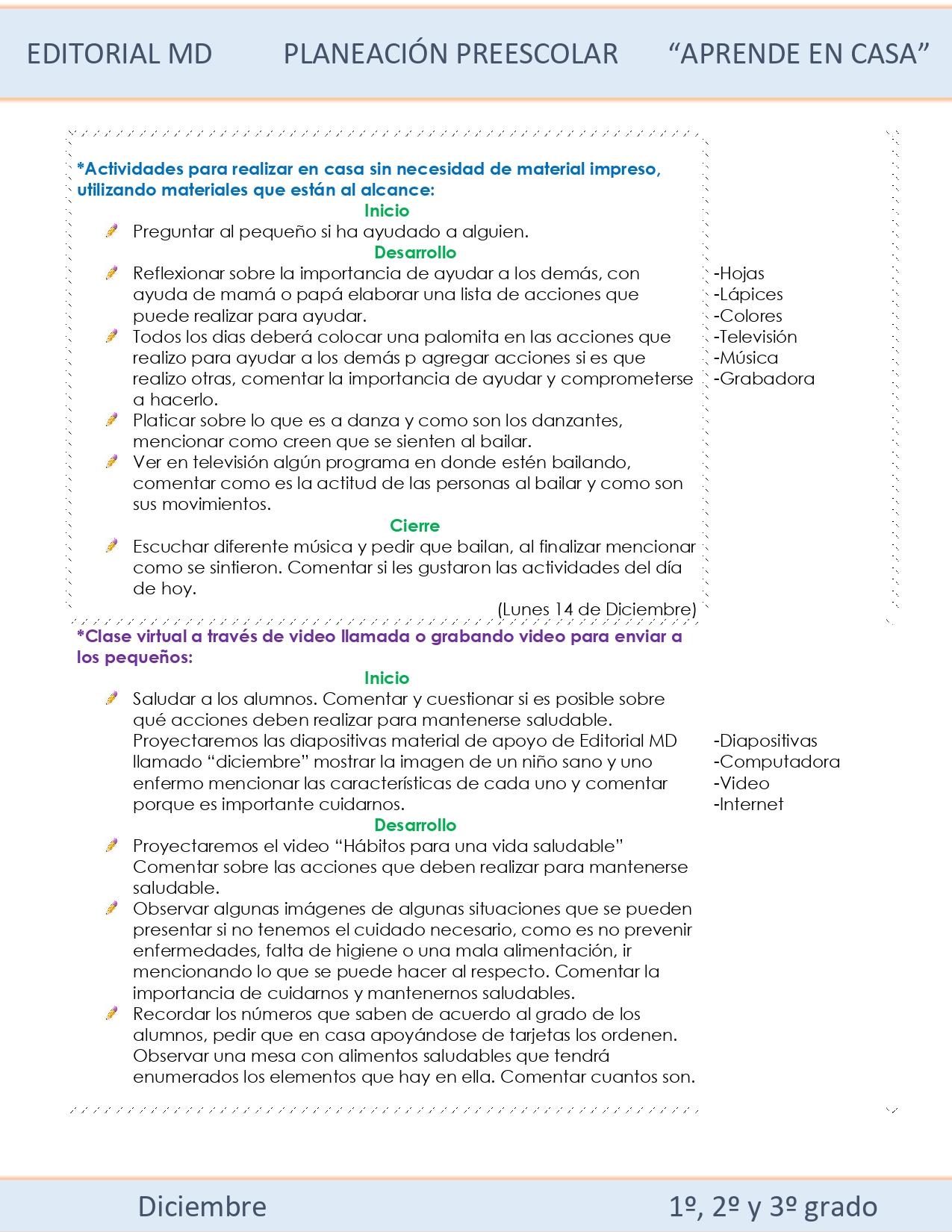 Ejemplo planeación Preescolar del 14 al 18 de diciembre 2020