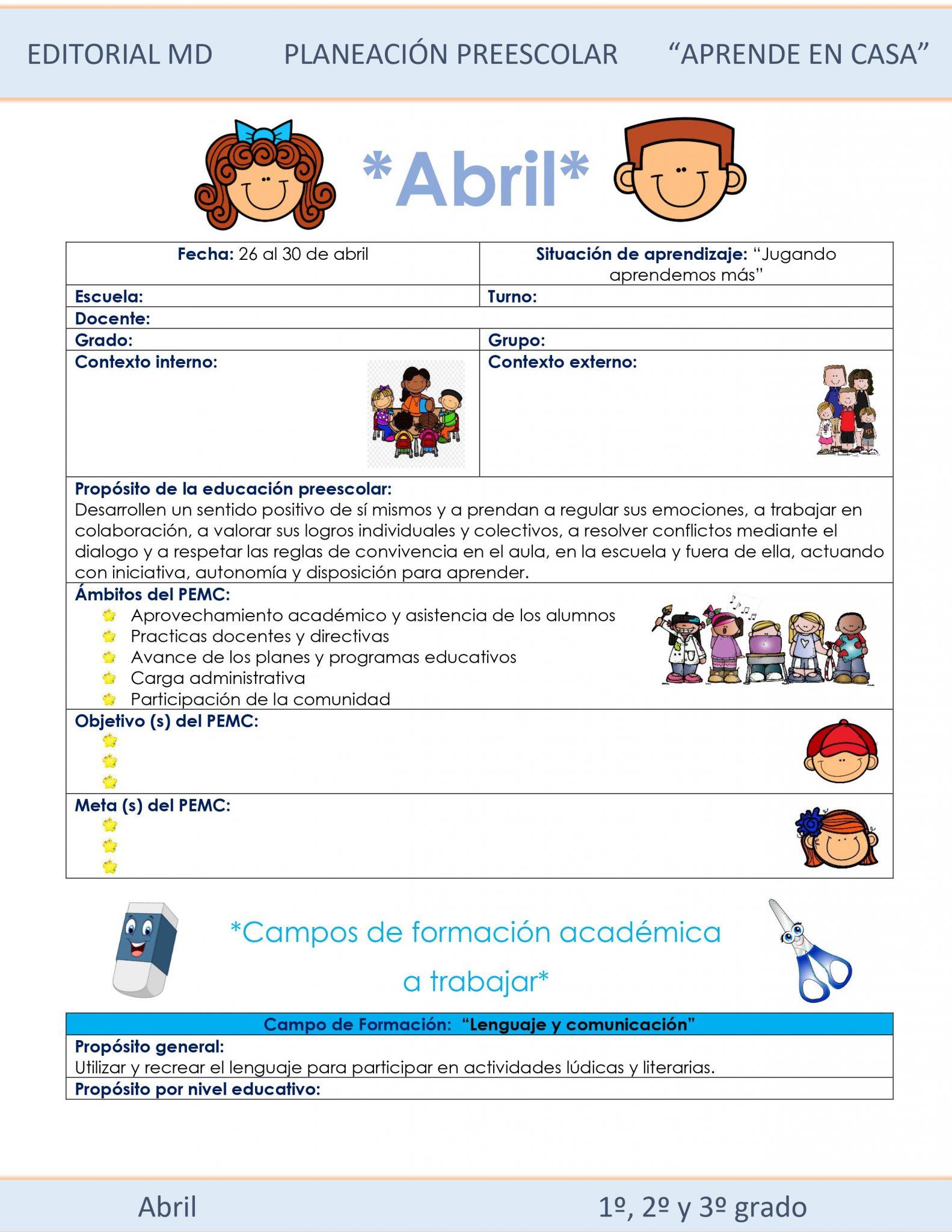 Ejemplo planeación semana 31 de preescolar 01