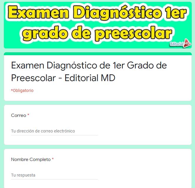 EjemploExamen diagnóstico para preescolar 1er grado 01