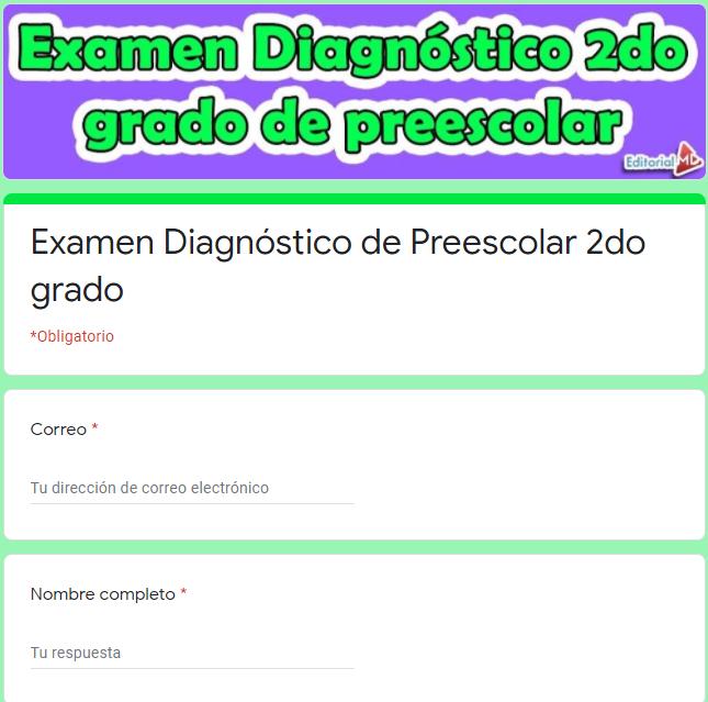 EjemploExamen diagnóstico para preescolar 2do grado 01