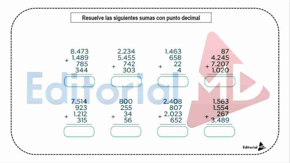 Sistema de Numeración Decimal para Imprimir y DESCARGAR