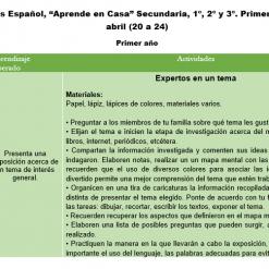 Español Aprende en casa Secundaria Primer semana abril, 1º, 2º y 3º