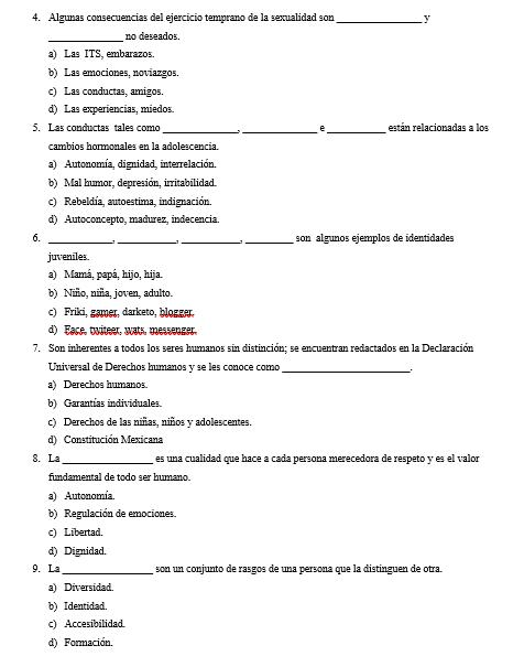 Evaluación de los 3 trimestres de Formación Cívica Secundaria - 1er Grado 03