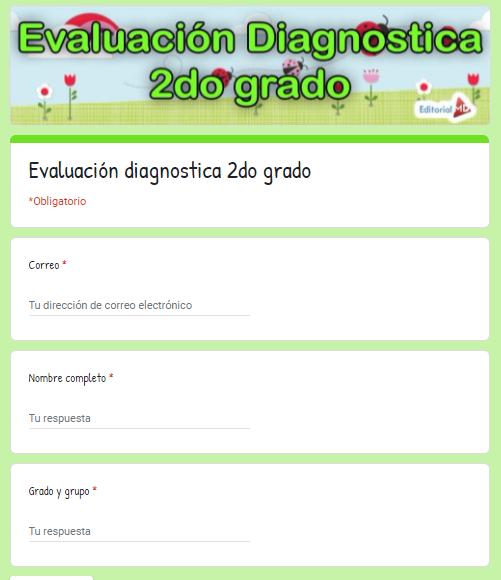 Evaluación Diagnostica 2do Grado de primaria de aprende en casa