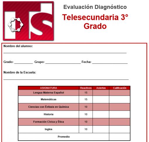 Evaluacion diagnostica 3er grado de telesecundaria 01