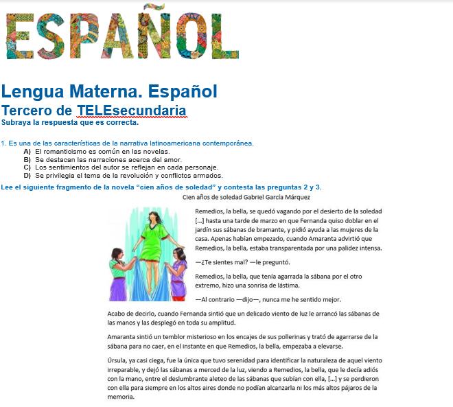 evaluacion diagnostica español telesecundaria 2021-2022