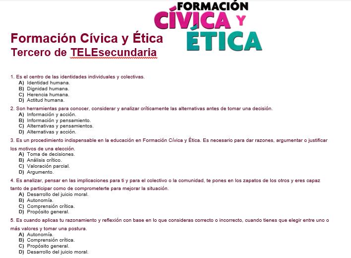 Evaluacion diagnostica 3er grado de telesecundaria de formación civica y etica