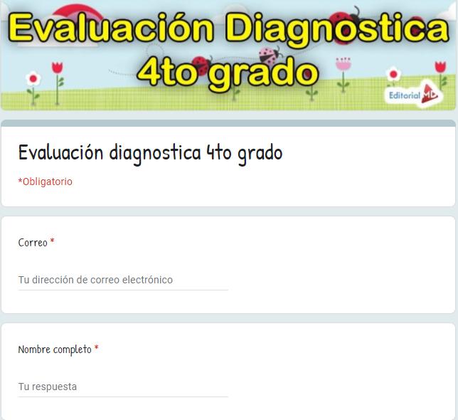 Evaluación diagnostica cuarto grado aprende en casa