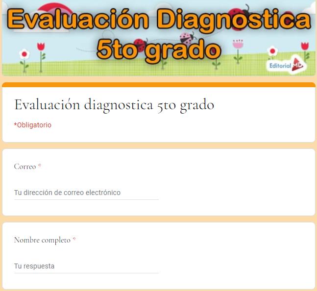 Evaluación diagnostica quinto grado de aprende en casa