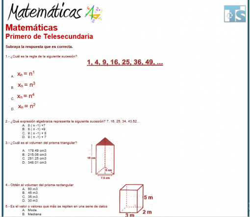 Exámenes 1° de Telesecundaria 3er Trimestre del Nuevo Modelo Educativo 03