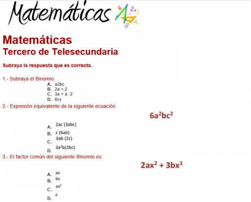 Exámenes 3° de Telesecundaria 3er Trimestre del Nuevo Modelo Educativo 02