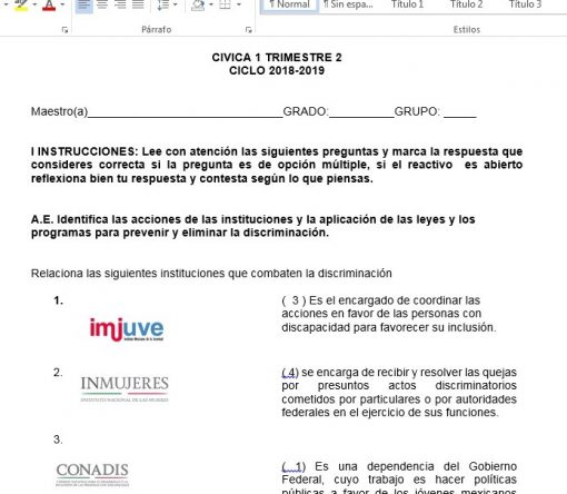 Exámenes 2do trimestre Formación Cívica y Ética 1 Secundaria