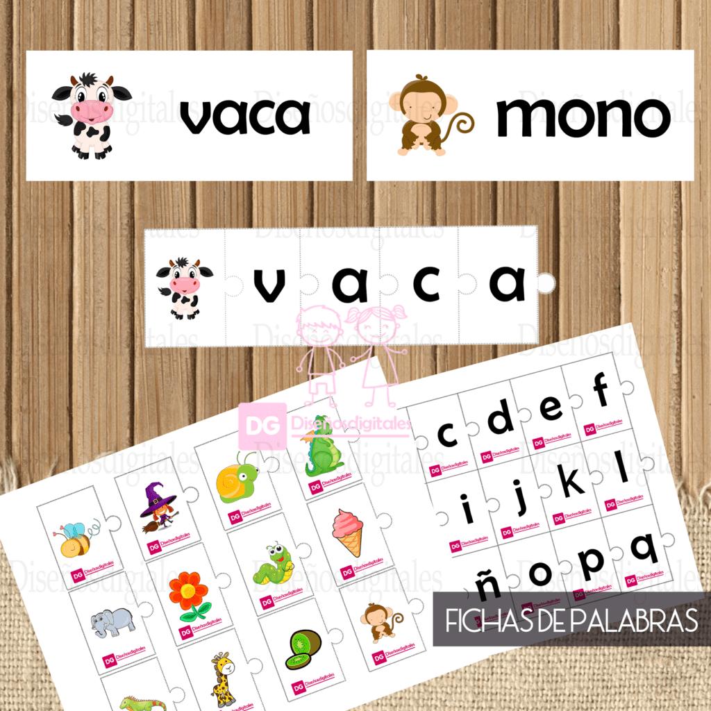 Fichas de palabras Para niños para Imprimir