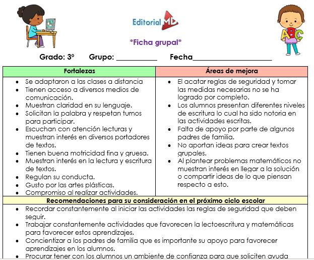 Fichas descriptivas grupales