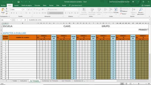 Formato evaluacion y asistencias
