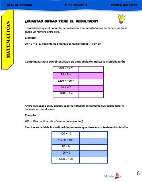 Guía de Estudio de 5° Grado de Primaria 2020 03