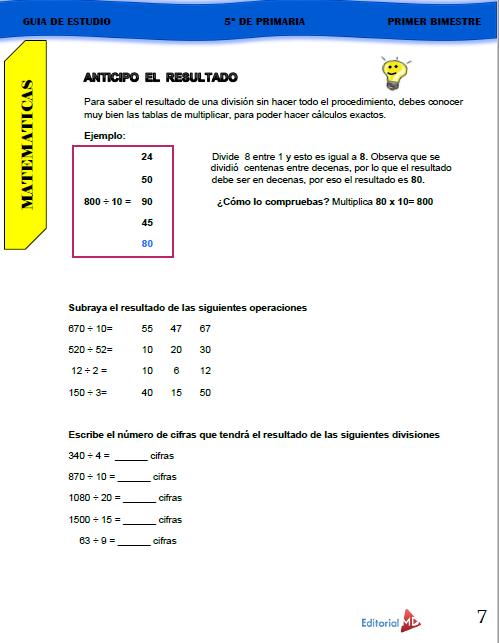 Guía de Estudio de 5° Grado de Primaria 2020 04