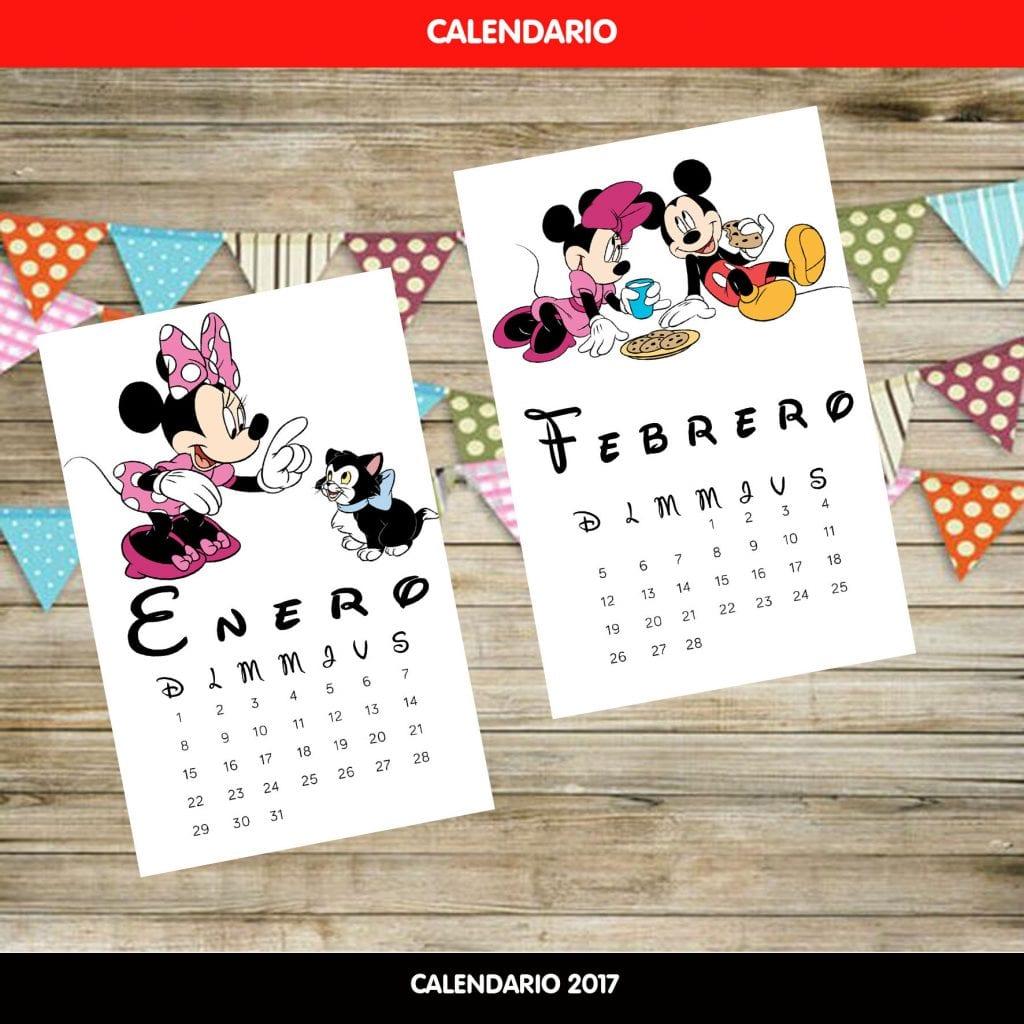 Calendario con los personajes de disney
