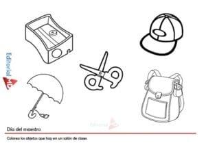 colorea los objetos, actividades para el dia del maestro