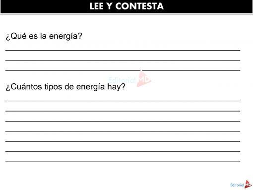 Lee y contesta que es la energia