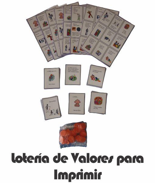 Loteria de valores para imprimir