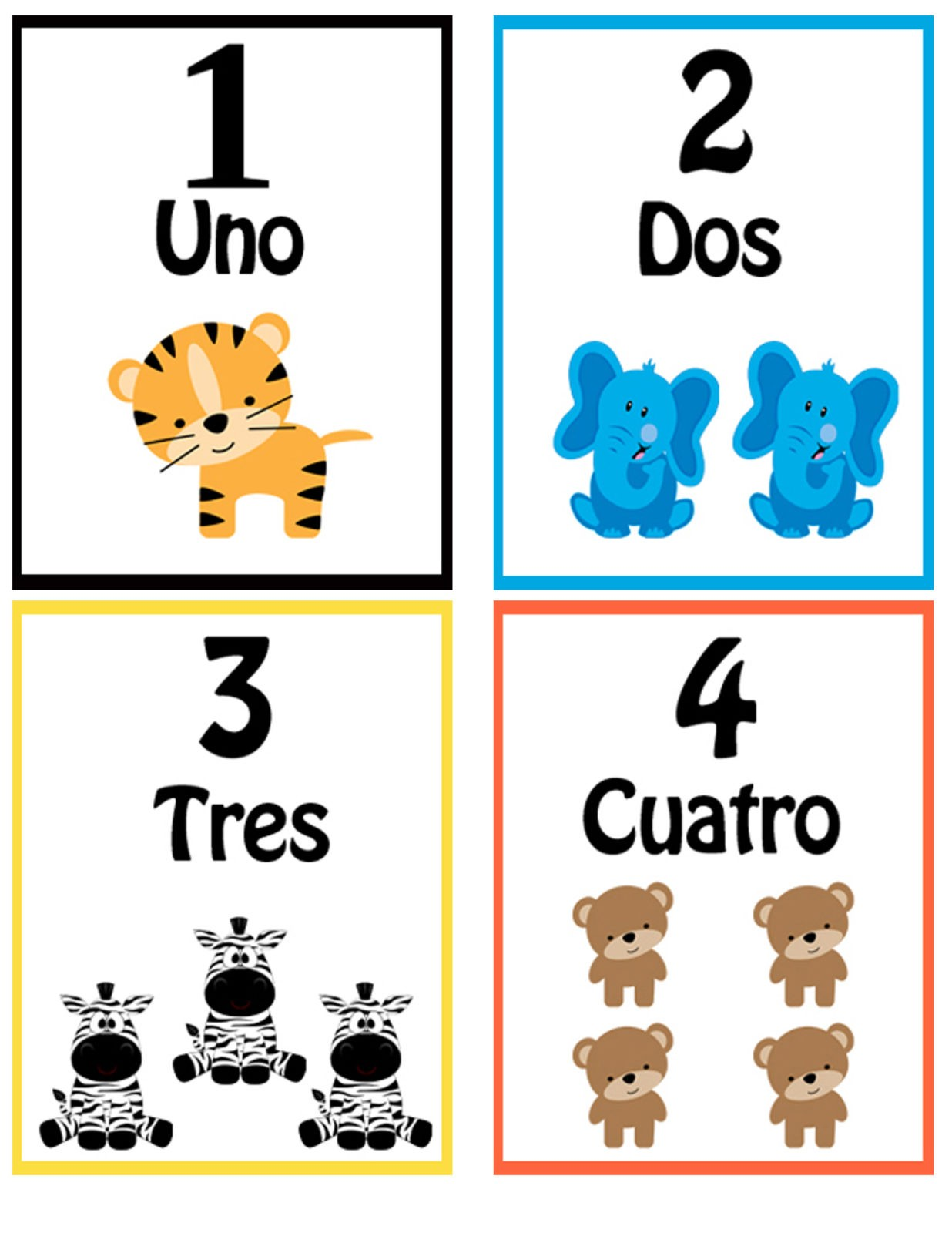 Tarjetas del 1 al 10 para Niños con animales