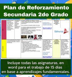 Plan de reforzamiento para Secundaria Generales, Técnicas y Telesecundaria, (2do Grado)