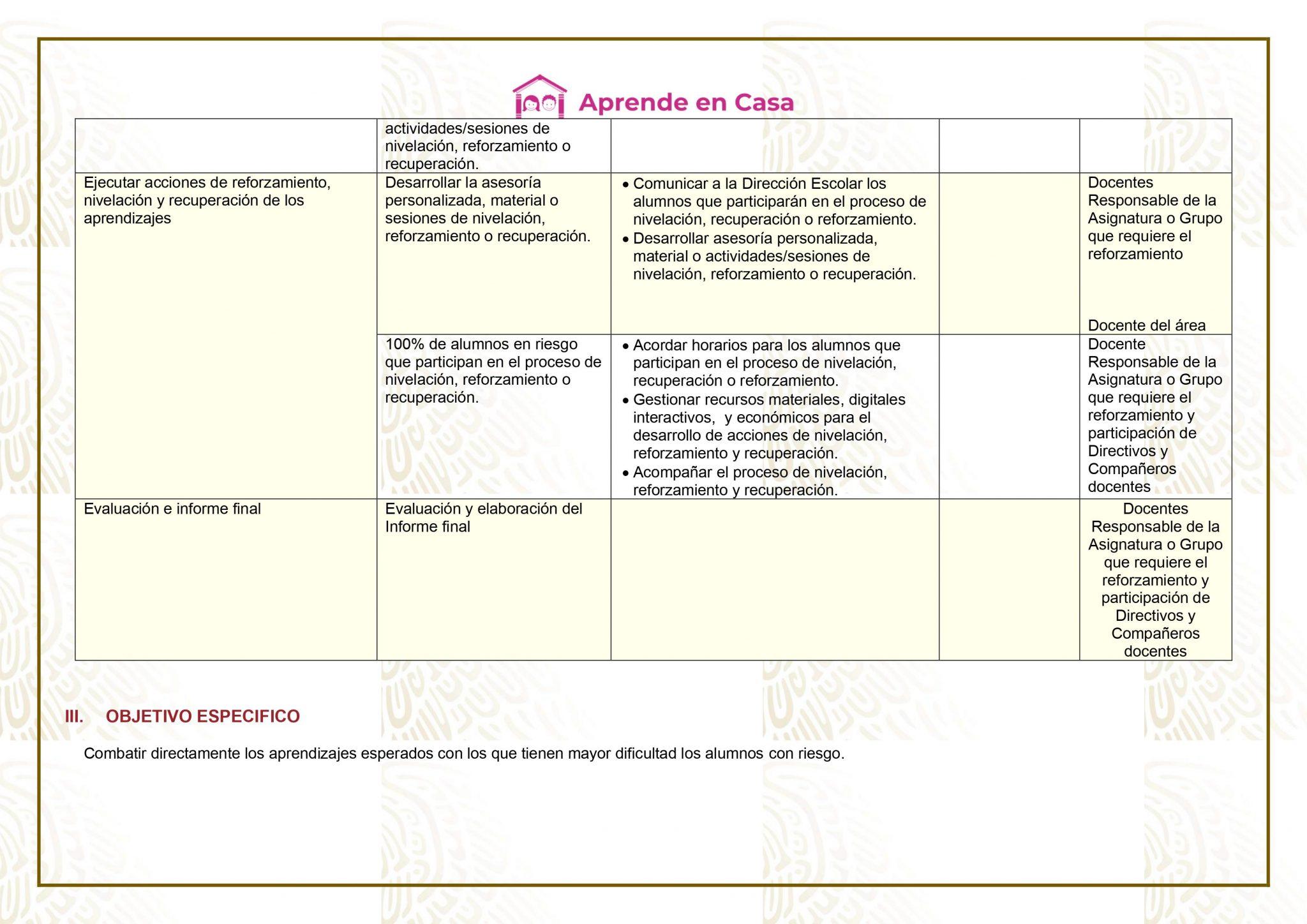 Ejemplo Plan de reforzamiento de 3 grado de secundaria