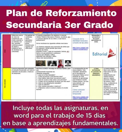 Plan de reforzamiento 3 grado de secundaria