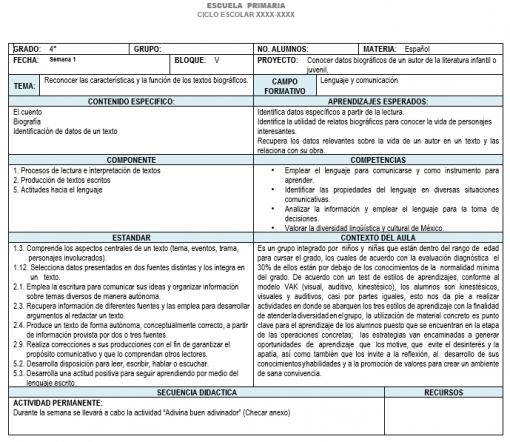 Planeación 4 grado de Primaria (Trimestre 3) 2019-2020 01