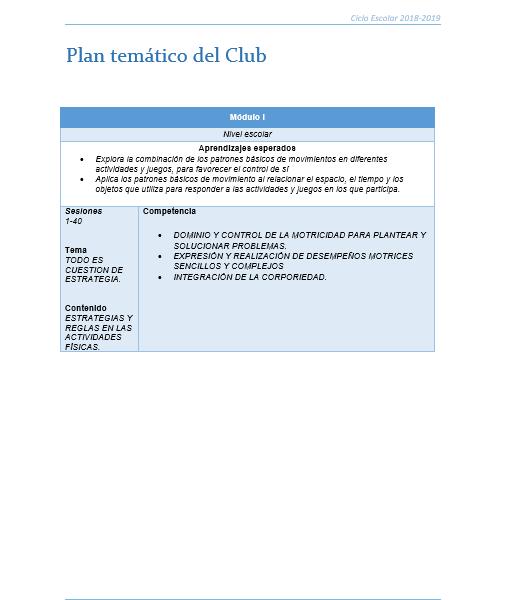 Planeacion Club EDUCACIÓN FÍSICA