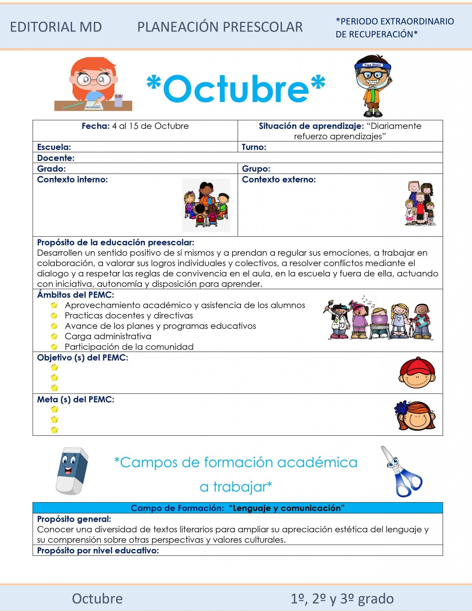 Planeación de octubre de preescolar hibrida 2021
