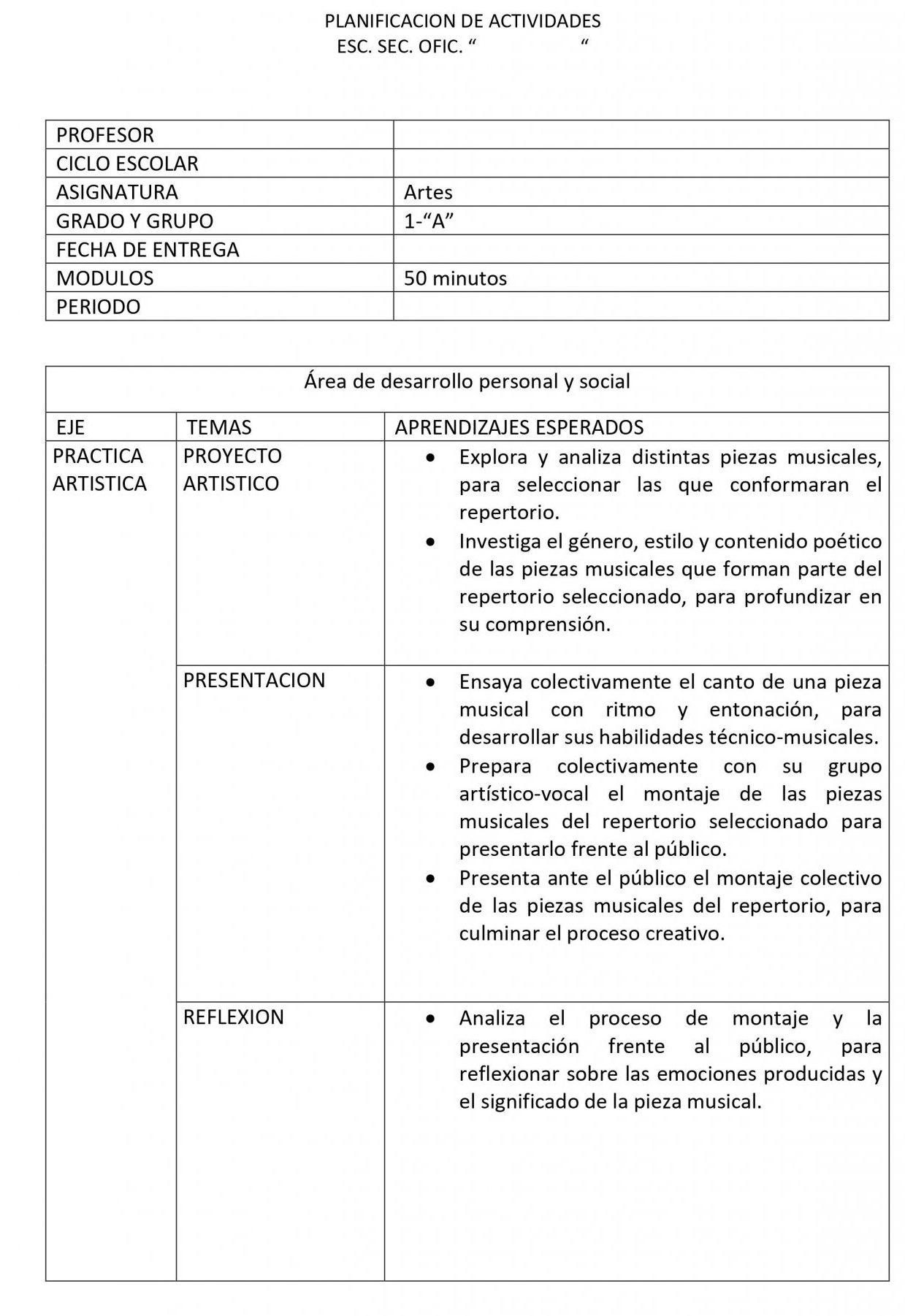 Planeaciones Artes Musica 1 Secundaria (Nuevo Modelo Educativo) 1er. Trimestre 01