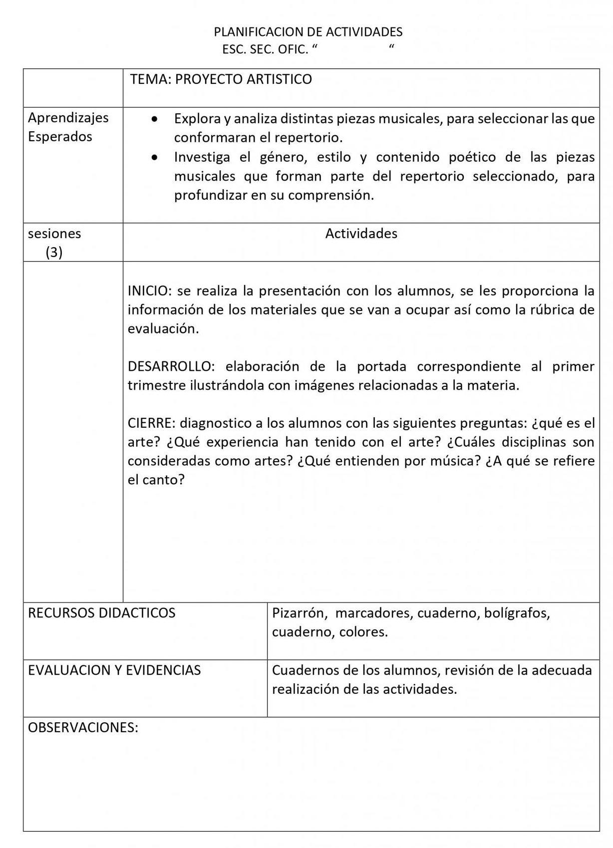 Planeaciones Artes Musica 1 Secundaria (Nuevo Modelo Educativo) 1er. Trimestre 02