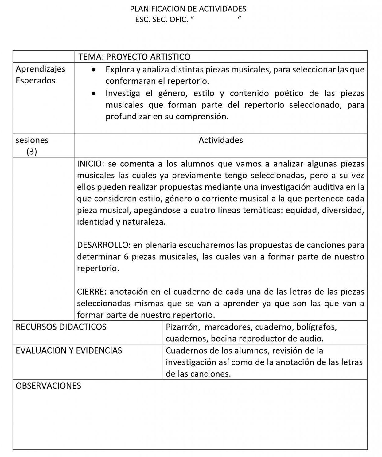 Planeaciones Artes Musica 1 Secundaria (Nuevo Modelo Educativo) 1er. Trimestre 03
