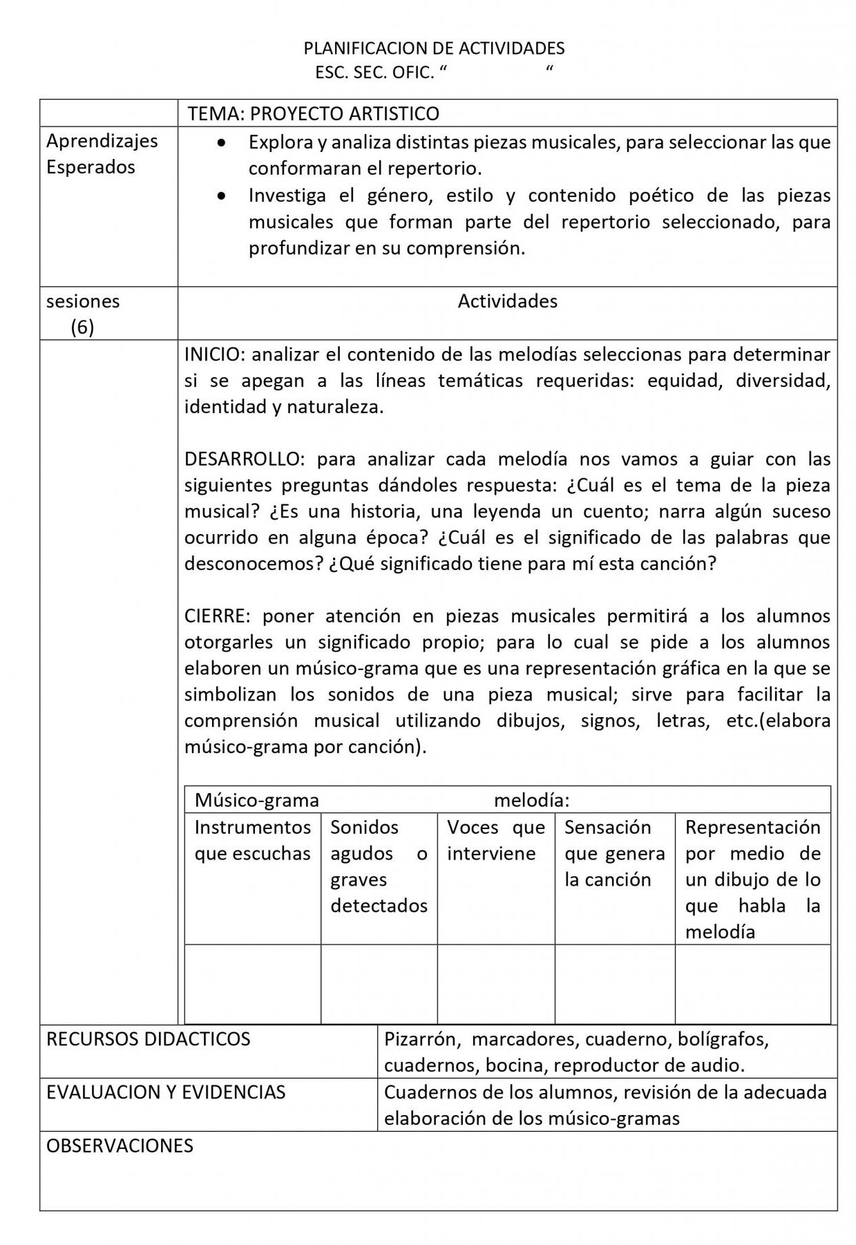 Planeaciones Artes Musica 1 Secundaria (Nuevo Modelo Educativo) 1er. Trimestre 04