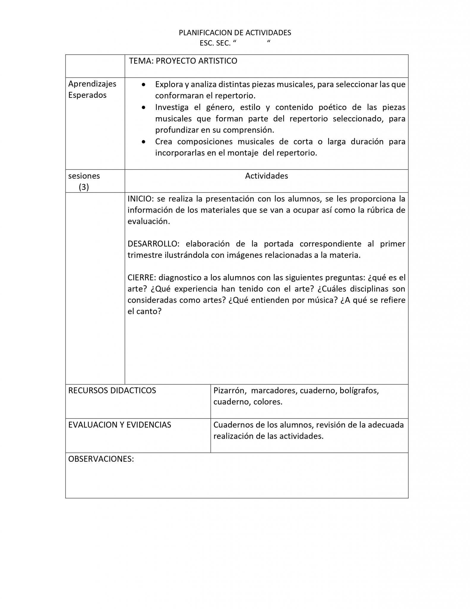 Planeaciones Artes Música 3 Secundaria (Nuevo Modelo Educativo) 1er. Trimestre 02