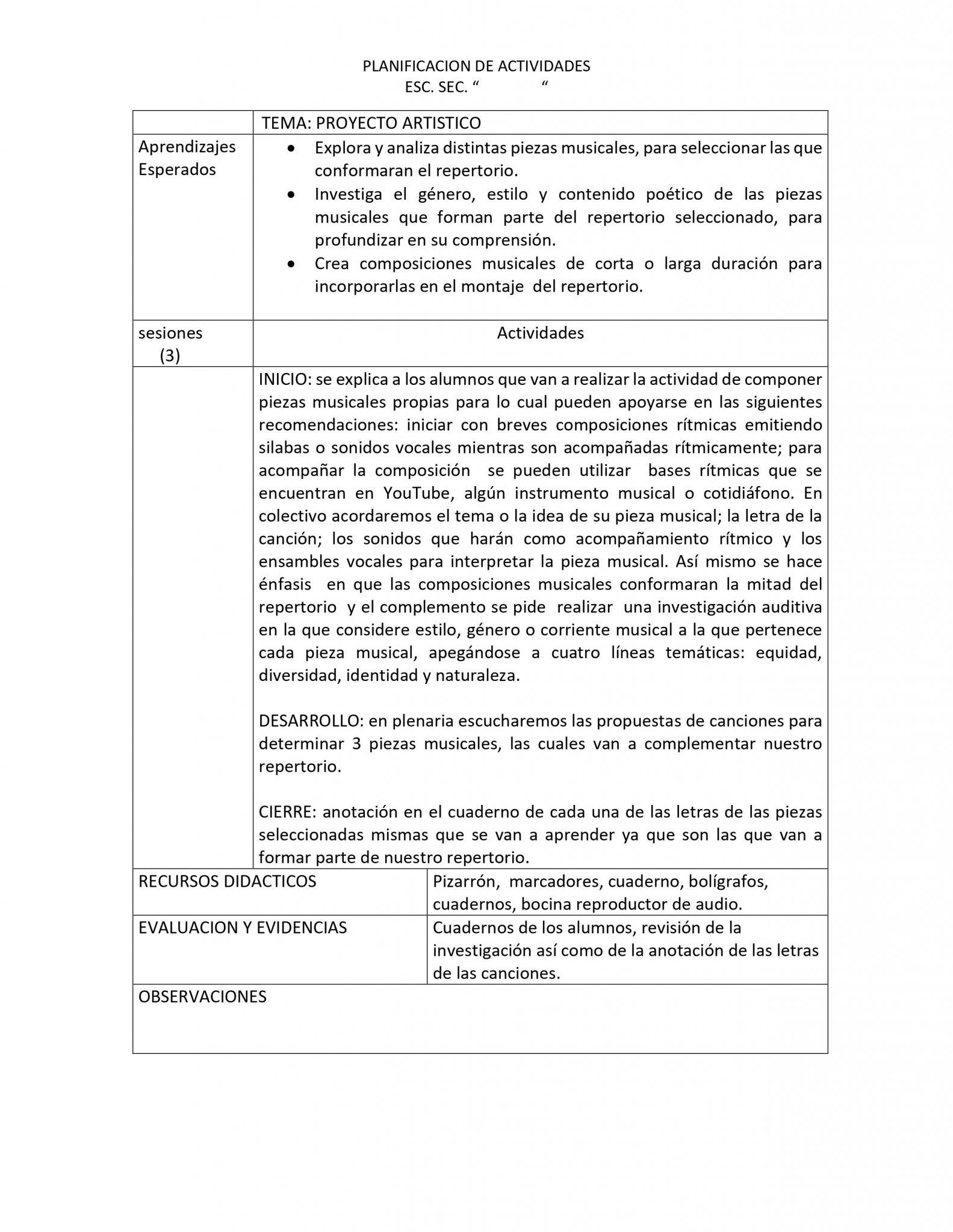 Planeaciones Artes Música 3 Secundaria (Nuevo Modelo Educativo) 1er. Trimestre 03