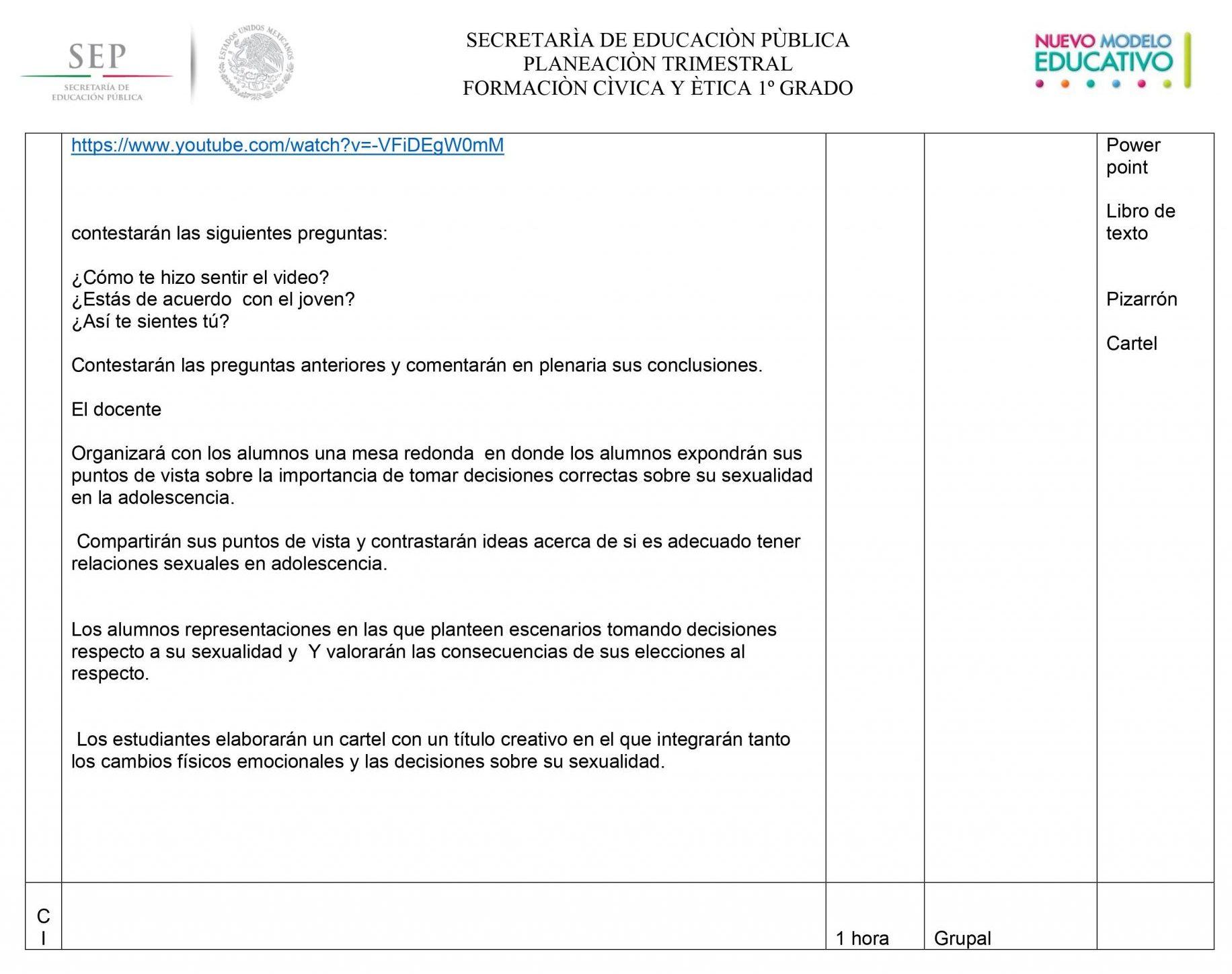Planeaciones Formacion Civica y Etica 1 Secundaria (Nuevo Modelo Educativo) 02