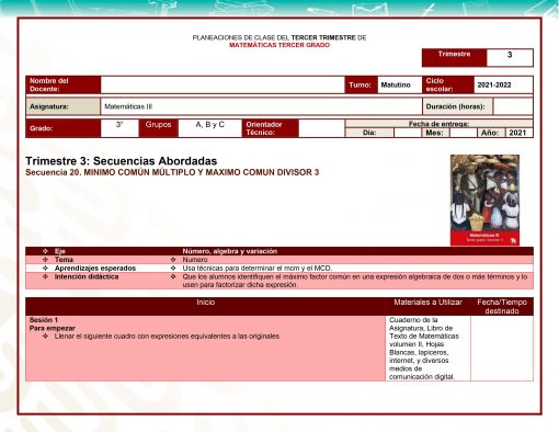 Planeaciones Telesecundaria 3° Grado 1er, 2do y 3er Trimestre (Paquete Acorde a Nuevos Libros) 2021 – 2022 04