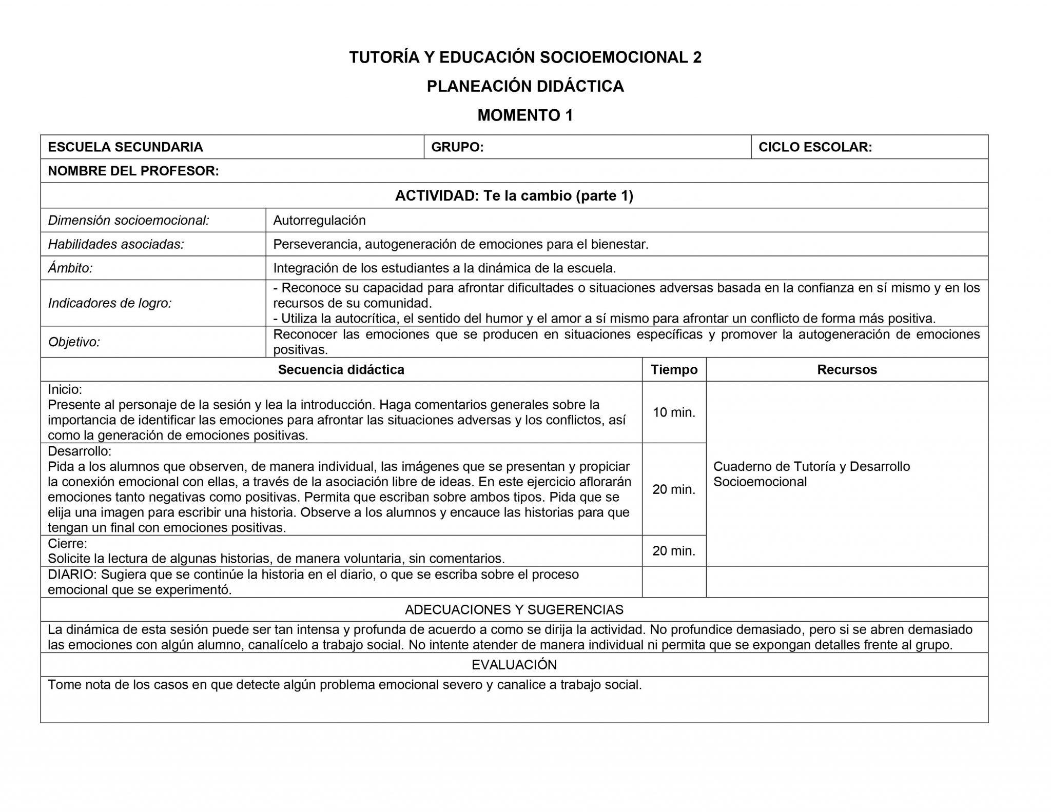 Planeaciones Tutoria Socioemocional 2 Secundaria 1er Trimestre 01