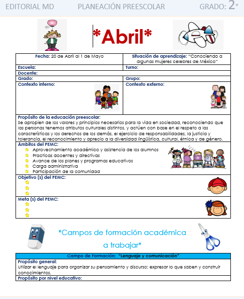 ejemplo de la planeación de Abril para preescolar