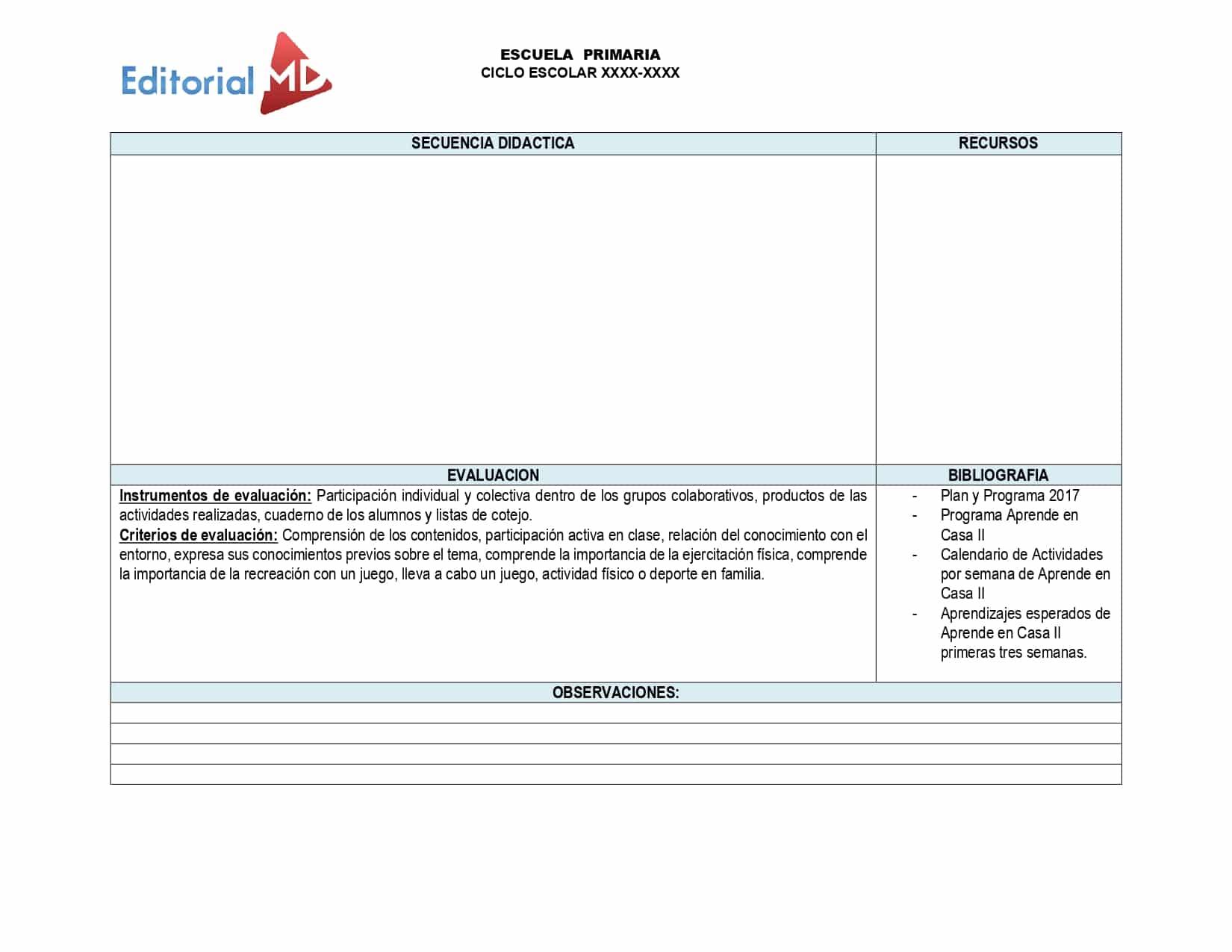 Ejemplo planeación primaria semana 9