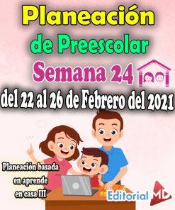 Semana 24 Planeación de Preescolar Aprende en casa 3 (del 22 al 26 de Febrero del 2021)