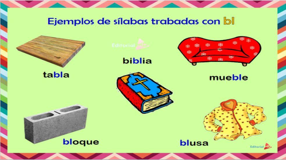 ejemplo de silabas trabadas con bl