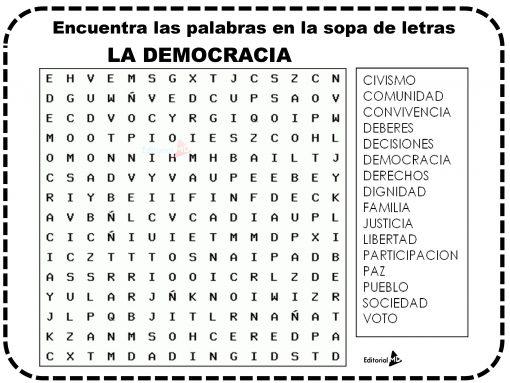 Sopa de letras de la democracia