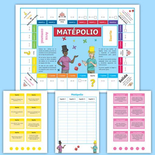 Juego de mesa Matépolio: Tablas de Multiplicar